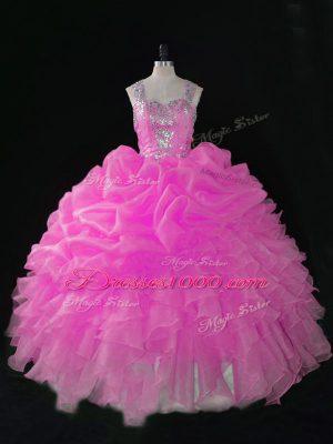 Latest Rose Pink Straps Neckline Beading and Ruffles and Pick Ups Sweet 16 Dresses Sleeveless Zipper