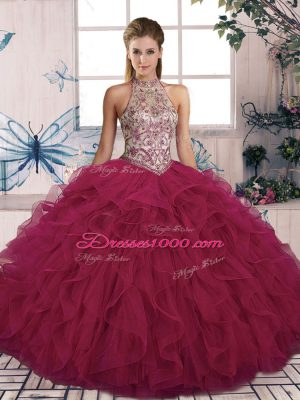 Pretty Tulle Halter Top Sleeveless Lace Up Beading and Ruffles Sweet 16 Dresses in Burgundy