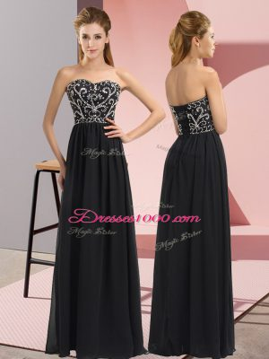 Luxurious Black Sleeveless Floor Length Beading Lace Up Party Dress Wholesale
