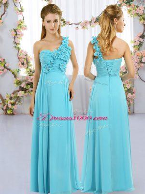 Floor Length Aqua Blue Bridesmaid Dresses Chiffon Sleeveless Hand Made Flower