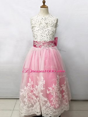 Trendy Pink And White Tulle Lace Up Flower Girl Dresses for Less Sleeveless Floor Length Beading and Lace and Bowknot