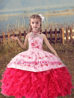 Latest Sleeveless Organza Floor Length Lace Up Casual Dresses in Coral Red with Beading and Embroidery and Ruffles