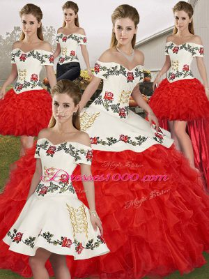 White And Red Off The Shoulder Lace Up Embroidery and Ruffles Quince Ball Gowns Sleeveless