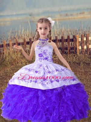 Latest Floor Length Lace Up Little Girl Pageant Gowns Lavender for Wedding Party with Beading and Embroidery and Ruffles