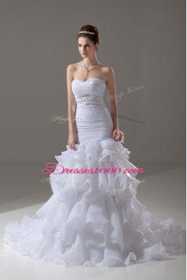 Charming White Mermaid Organza Sweetheart Sleeveless Beading and Ruffled Layers Lace Up Wedding Gowns Brush Train