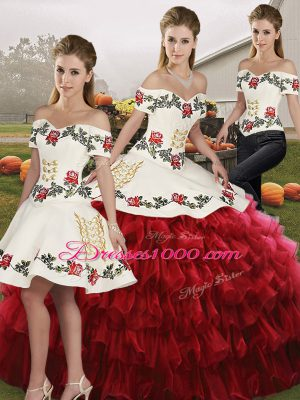 Superior Wine Red Organza Lace Up Sweet 16 Quinceanera Dress Sleeveless Floor Length Embroidery and Ruffled Layers