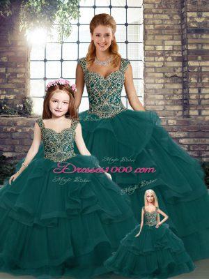 Floor Length Peacock Green Sweet 16 Dresses Tulle Sleeveless Beading and Ruffles