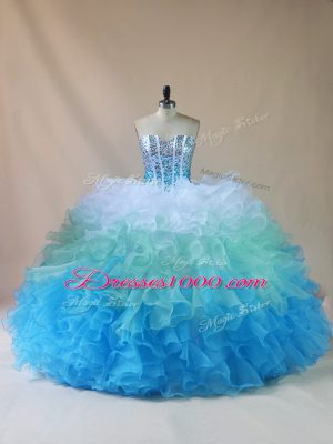 Stunning Multi-color Lace Up Quinceanera Dress Beading and Ruffles Sleeveless Floor Length