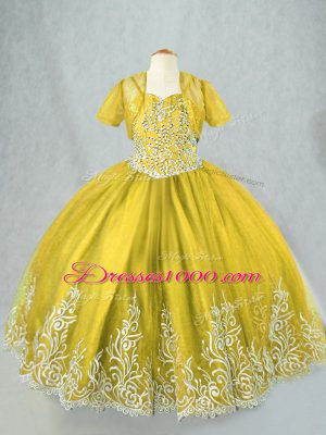 Floor Length Olive Green Little Girls Pageant Gowns Spaghetti Straps Sleeveless Lace Up
