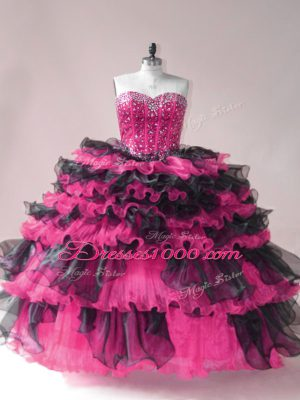 Modern Organza Sweetheart Sleeveless Lace Up Beading and Ruffled Layers Ball Gown Prom Dress in Pink And Black