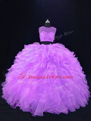 Nice Lavender Organza Zipper Quinceanera Dress Sleeveless Floor Length Beading and Ruffles