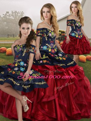 Stylish Red And Black Organza Lace Up Off The Shoulder Sleeveless Floor Length Quinceanera Gowns Embroidery and Ruffles