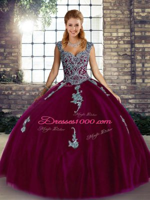 Graceful Fuchsia Straps Neckline Beading and Appliques 15 Quinceanera Dress Sleeveless Lace Up
