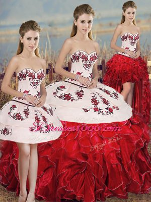 New Style White And Red Sleeveless Floor Length Embroidery and Ruffles and Bowknot Lace Up Quinceanera Gown