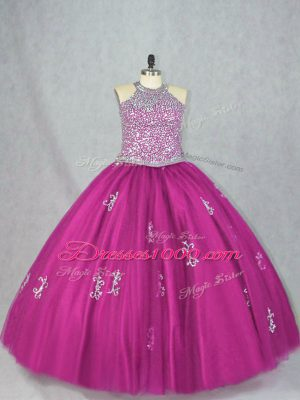 Pretty Fuchsia Lace Up Halter Top Beading and Appliques Quince Ball Gowns Tulle Sleeveless