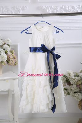Extravagant White Toddler Flower Girl Dress Wedding Party with Ruffles and Belt Scoop Sleeveless Zipper