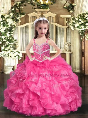 Sleeveless Floor Length Beading and Ruffles Lace Up High School Pageant Dress with Hot Pink