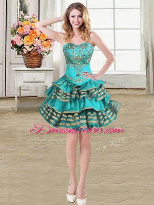 Cute Teal Sweetheart Lace Up Embroidery and Ruffled Layers Homecoming Dress Sleeveless