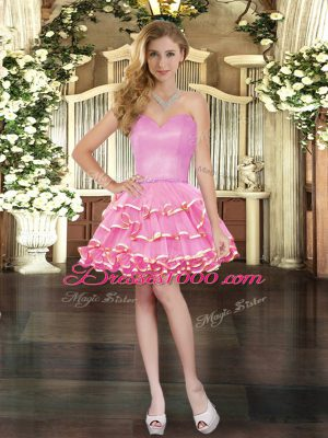 Ball Gowns Prom Evening Gown Rose Pink Sweetheart Organza Sleeveless Mini Length Lace Up