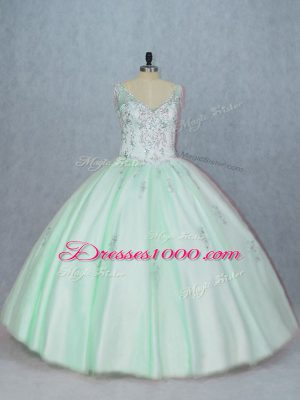Fashion Apple Green Ball Gowns V-neck Sleeveless Tulle Floor Length Lace Up Beading and Appliques 15 Quinceanera Dress