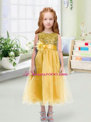 Gold Zipper Flower Girl Dress Sequins and Hand Made Flower Sleeveless Tea Length
