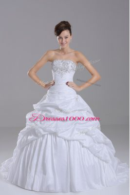 White Ball Gowns Strapless Sleeveless Taffeta Brush Train Lace Up Beading and Pick Ups Wedding Gowns