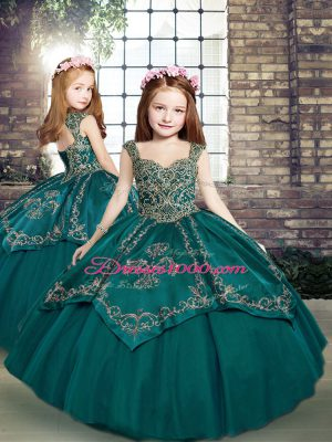 Sleeveless Floor Length Beading and Embroidery Lace Up Little Girl Pageant Dress with Teal