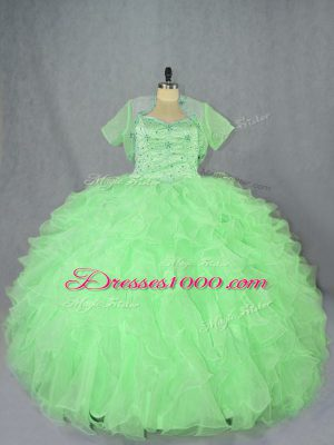 Fitting Sleeveless Lace Up Floor Length Beading and Ruffles Sweet 16 Dress