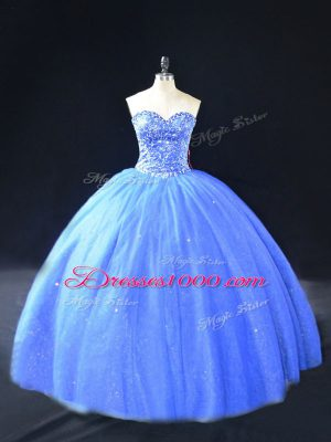 Unique Floor Length Blue 15 Quinceanera Dress Tulle Sleeveless Beading