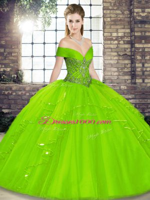 15th Birthday Dress Military Ball and Sweet 16 and Quinceanera with Beading and Ruffles Off The Shoulder Sleeveless Lace Up