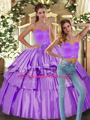 Decent Satin Sleeveless Floor Length Quinceanera Dress and Ruffled Layers