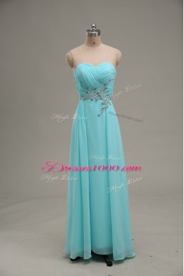 Floor Length Zipper Homecoming Dress Aqua Blue for Prom and Party and Military Ball with Appliques and Ruching