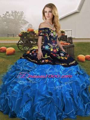 Fancy Sleeveless Organza Floor Length Lace Up 15 Quinceanera Dress in Blue And Black with Embroidery and Ruffles