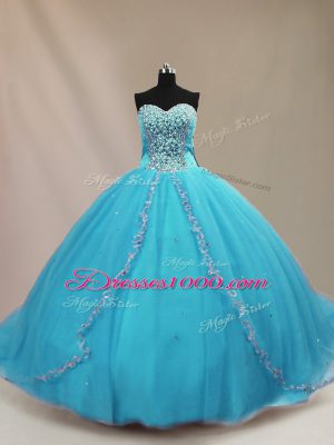 Elegant Aqua Blue Ball Gowns Tulle Sweetheart Sleeveless Beading Lace Up Vestidos de Quinceanera Court Train