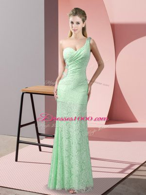 Apple Green Criss Cross One Shoulder Beading and Lace Casual Dresses Lace Sleeveless