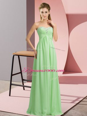 Custom Fit Apple Green Sweetheart Neckline Beading Dress for Prom Sleeveless Lace Up