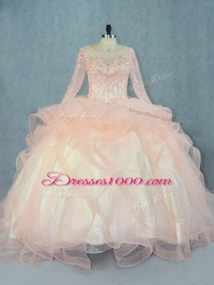 Beauteous Long Sleeves Beading and Ruffles Lace Up Sweet 16 Quinceanera Dress