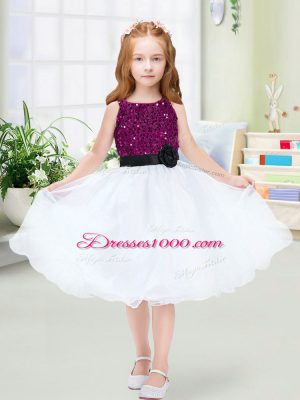 A-line Toddler Flower Girl Dress White Scoop Organza Sleeveless Knee Length Zipper