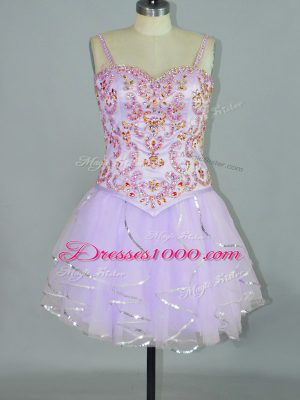 Spectacular Spaghetti Straps Sleeveless Tulle Beading and Ruffles Lace Up