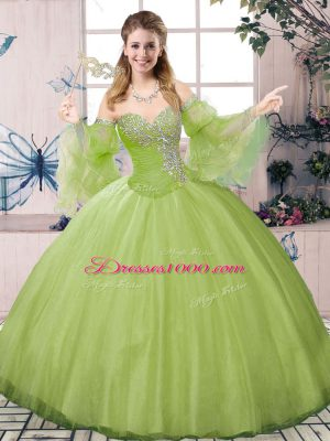 Sweetheart Long Sleeves Tulle Sweet 16 Dresses Beading Lace Up