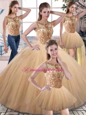 Perfect Sleeveless Tulle Floor Length Lace Up Quinceanera Dress in Gold with Beading