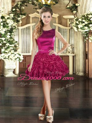 Pretty Burgundy Lace Up Womens Party Dresses Ruffles Sleeveless Mini Length