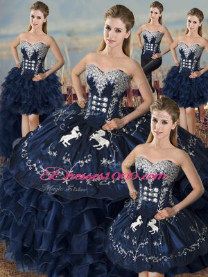 Fantastic Navy Blue Sweetheart Neckline Embroidery and Ruffles 15th Birthday Dress Sleeveless Lace Up
