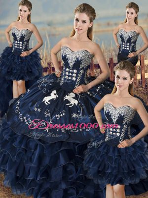 Vintage Organza Sleeveless Floor Length Quince Ball Gowns and Embroidery and Ruffles