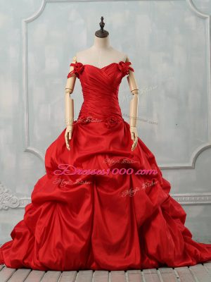 Deluxe Red Taffeta Lace Up Quinceanera Dresses Sleeveless Court Train Pick Ups and Hand Made Flower