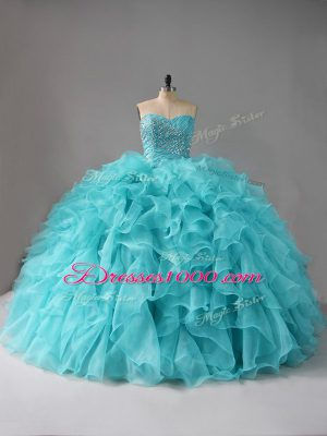 Sweetheart Sleeveless Quinceanera Gowns Beading and Ruffles Aqua Blue Organza
