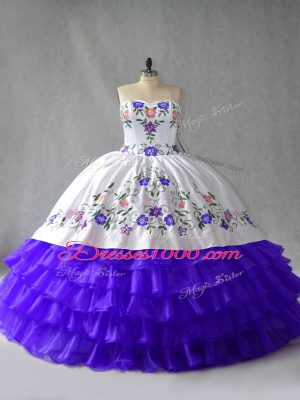 Sexy Sweetheart Sleeveless 15 Quinceanera Dress Floor Length Embroidery and Ruffled Layers Blue And White Organza