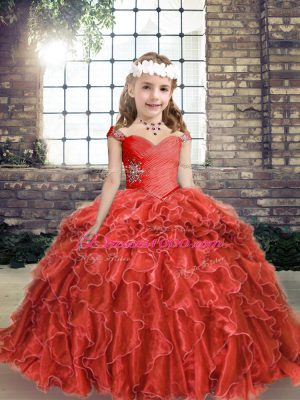 Fashionable Red Column/Sheath Beading and Ruffles Kids Pageant Dress Lace Up Organza Sleeveless Floor Length