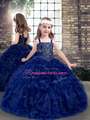 Lovely Straps Sleeveless Girls Pageant Dresses Floor Length Beading and Ruffles Blue Organza