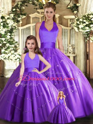 Delicate Purple Tulle Lace Up Halter Top Sleeveless Floor Length 15 Quinceanera Dress Beading